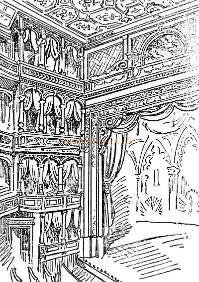 A sketch of the auditorium, stage, and private boxes of the Prince's Theatre, Coventry Street - From the Pall Mall Gazette 19th January 1884.