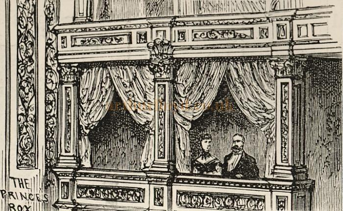 A sketch of the Prince's Box at the Prince's Theatre - Courtesy Delfont Mackintosh Theatres.
