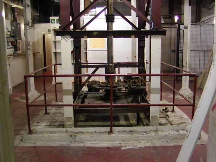 The Revolve Lift mechanism under the stage of the Prince of Wales Theatre shortly before its removal during renovations in 2003/5 - Courtesy Roger Fox.