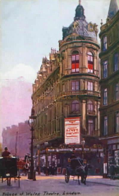An early postcard depicting the original Prince's Theatre, although by the time this card was produced it had been renamed the Prince of Wales Theatre.