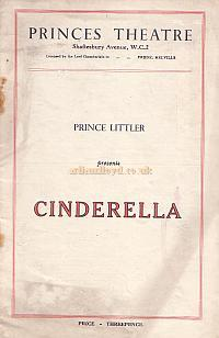 Early Programme for the Pantomime 'Cinderella' with Stanley Lupino as 'Buttons' at the Princes Theatre.
