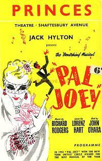 Programme for 'Pal Joey' with Richard France and Arthur Lowe at the Princes Theatre in 1954.