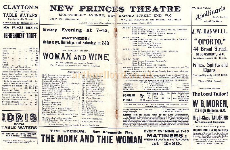 Details from a Programme for 'Woman and Wine' at the New Princes Theatre in 1912