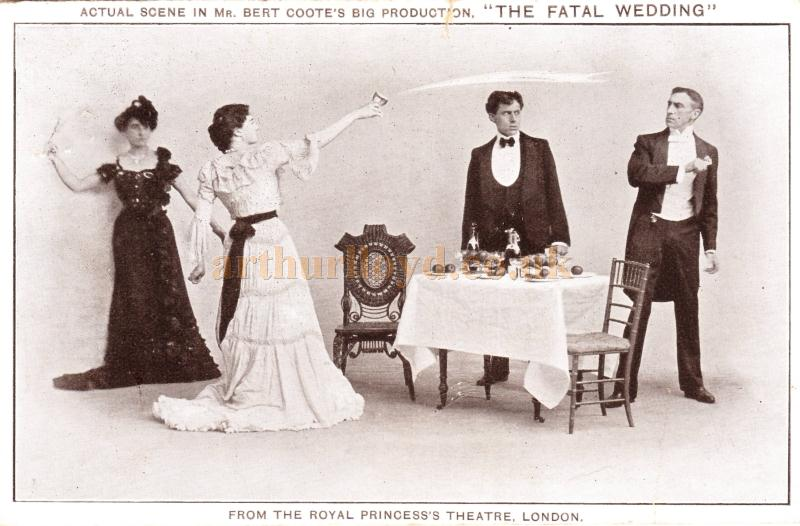A postcard depicting a scene from 'The Fatal Wedding' the last production at the Royal Princess's Theatre in 1931 - Courtesy Barbara Longley