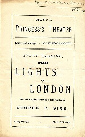 The Lights Of London - 1882 - Programme cover