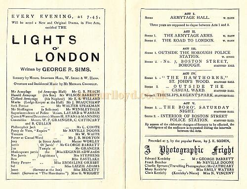 The Lights Of London - 1882 - Inside programme