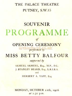 The Theatre's opening souvenir programme for October 11th 1926