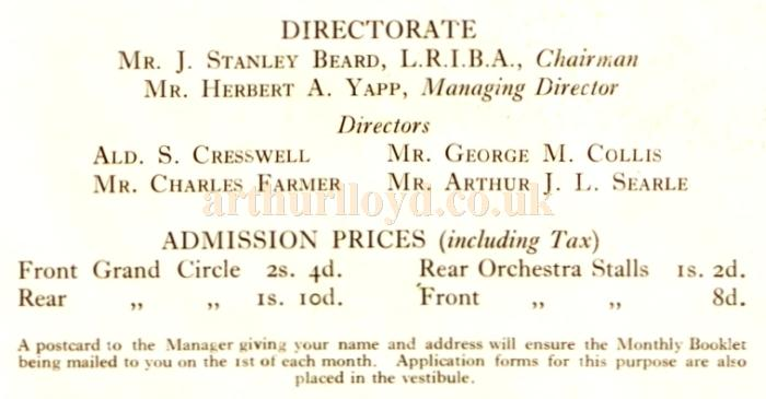 The Directorate of the Putney Palace Theatre and Admission Prices - From the Theatre's opening souvenir programme for October 11th 1926