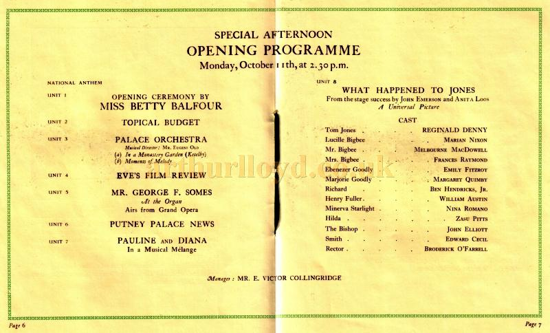 Production Details from the Putney Palace Theatre's opening souvenir programme for October 11th 1926