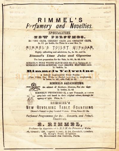 Details from a Programme for 'Our Farm' and 'Lady of Lyons' at the Queen's Theatre, Long Acre in September 1872.