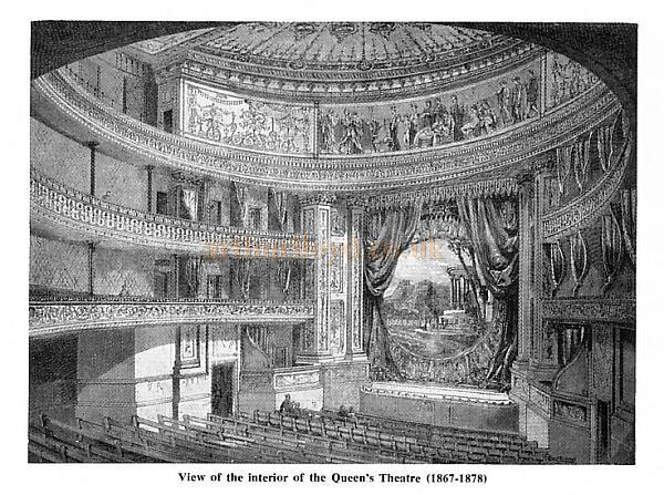 The auditorium and stage of the Queen's Theatre, Long Acre - From the magazine 'Theatre World' published in February 1956.