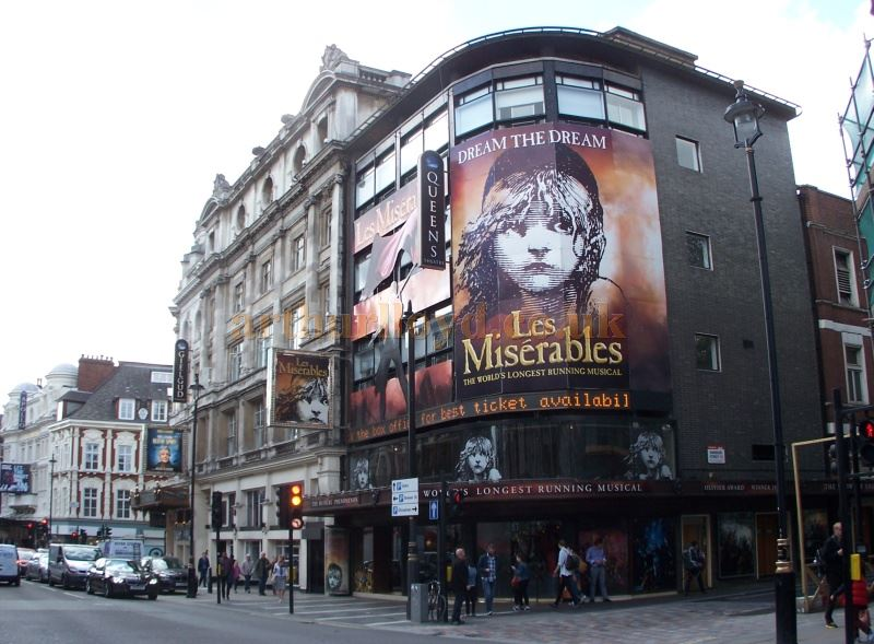 The Queen's Theatre during the run of the World's Longest Running Musical 'Les Miserables' in April 2014. The show originally opened at the Palace Theatre in October 1985 but transferred to the Queen's on the 3rd of April 2004 - Photo M. L.