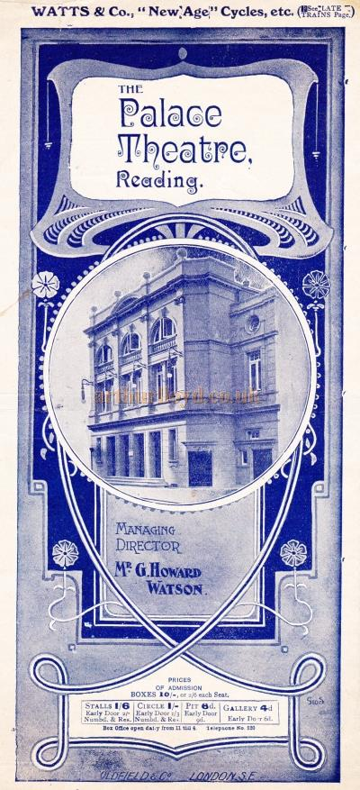 A Variety programme for the Palace Theatre, Reading for the week beginning August the 2nd 1909.