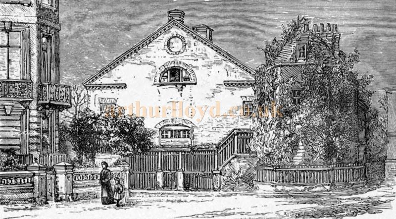 A Sketch showing the 1765 Richmond Theatre Exterior and Edmund Kean's House - From 'A Celebrated Old Playhouse, the History of Richmond Theatre in Surrey from 1765 to 1884' by Frederick Bingham 1886.