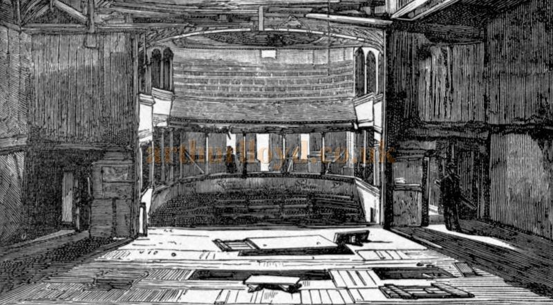 A Sketch showing the 1765 Richmond Theatre Auditorium from the Stage - From 'A Celebrated Old Playhouse, the History of Richmond Theatre in Surrey from 1765 to 1884' by Frederick Bingham 1886.