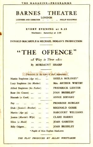 A programme for 'The Offence' a play in three acts by Mordaunt Shairp produced at the Barnes Theatre, Richmond on the 20th of July 1925.