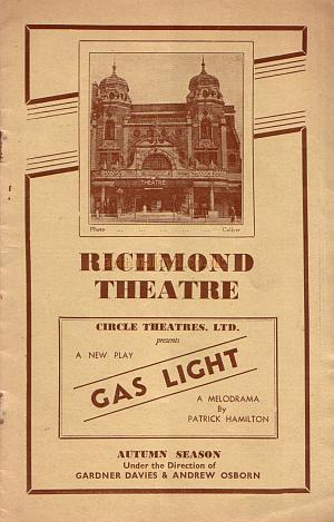 A programme for the Circle Theatre Ltd production of 'Gas Light' at the Richmond Theatre in 1938.