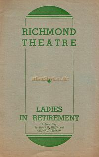 A programme for the Circle Theatres Ltd production of 'Ladies in Retirement' at the Richmond Theatre in 1939.
