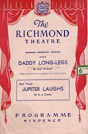 A programme for 'Daddy Long-Legs' at the Richmond Theatre in September 1952.