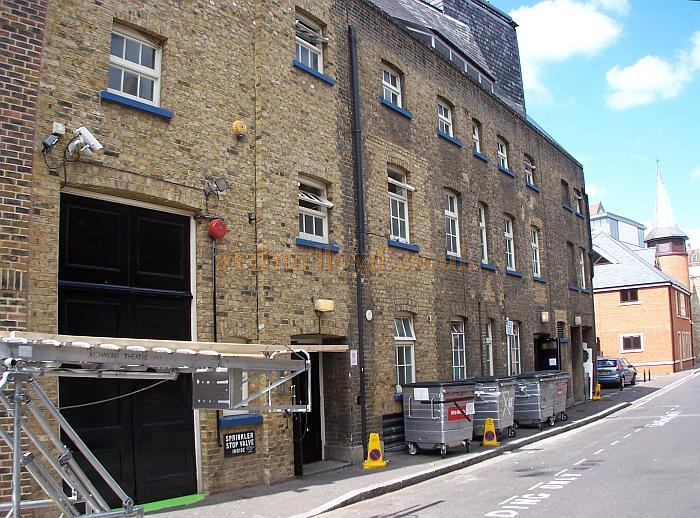The rear elevation, dock doors, and stage door, of the Richmond Theatre, Surrey in August 2009 - Photo M.L.