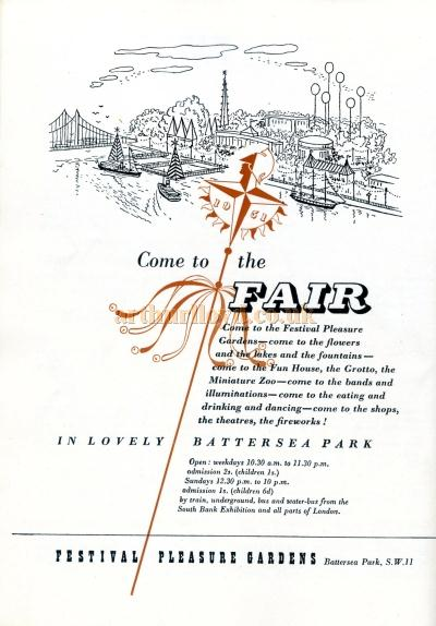 A Bill advertising the Festival Pleasure Gardens and mentioning the Theatre from 1951 - Courtesy Maurice Poole - Click for more of this brochure
