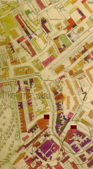 A map of the bomb damage to the area around Southwark Park after the Second World War. Marked are the sites of the Rotherhithe Hippodrome and Town Hall which were both severley damaged. Map reproduced with the kind permission of the Southwark Local Studies Library