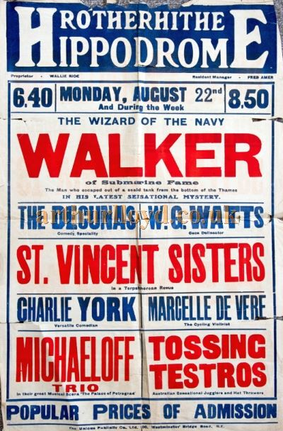 A Variety Poster for the Rotherhithe Hippodrome in August 1921 - Courtesy Val Walker