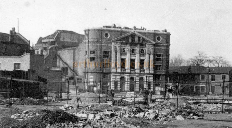 The Rotherhithe Hippodrome in 1954 after extensive bomb damage to the area - From a photograph held by the Southwark Local Studies Library.