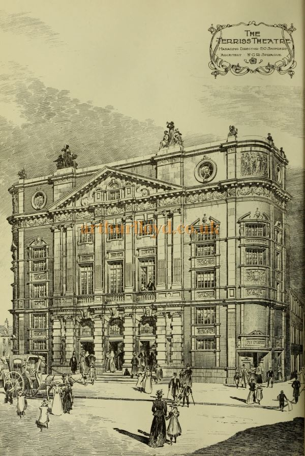 A Sketch of the Terriss Theatre, Rotherhithe (which would later become known as the Rotherhithe Hippodrome in 1907) - From The Building News and Engineering Journal, April 21st 1899.