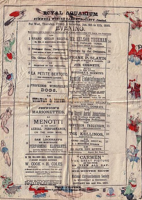 A Royal Aquarium Programme from January 8th 1890 (Printed on silk) - Kindly donated by Mr. John Moffatt.