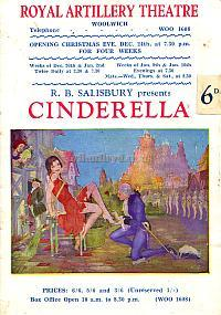 Programme for the Pantomime 'Cinderella' at the Royal Artillery Theatre, Woolwich with a very young Tony Hancock in January 1950 - Courtesy Michelle Bowen. - Click to see the entire programme and details of the cast with pictures.