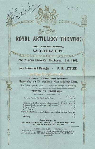 A Programme for 'By Pigeon Post' at the Royal Artillery Theatre on the 29th of November 1919 - Courtesy Leonie Williams.