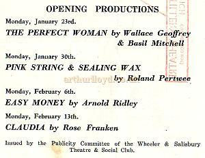 Details from a Wheeler and Salisbury Repertory Production Programme of 1949 - Courtesy Michelle Bowen.