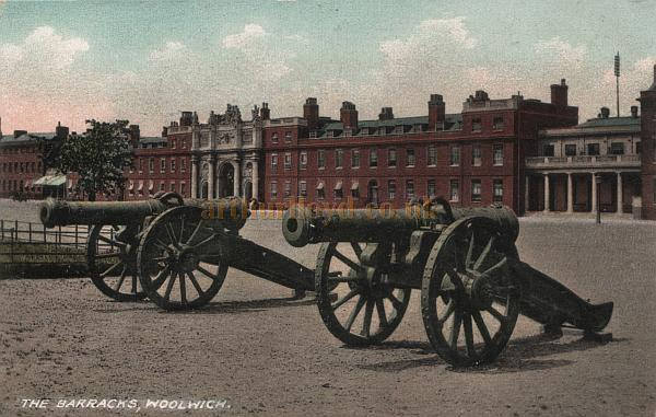 Postcard of the Royal Artillery Barracks, Woolwich. The Royal Artillery Theatre can be seen to the right of the picture, with ventilators visible on the roof above the auditorium. - Courtesy the Val Earl Collection.