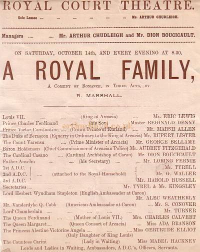 The Cast of 'A Royal Family' at the Royal Court Theatre under the management of Arthur Chudleigh and Dion Boucicault in October 1888.