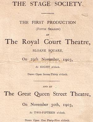 A Stage Society Programme introduces their fifth season at the Royal Court Theatre in November 1903.