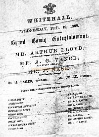 The Programme for Arthur's Command performance at the Whitehall Gardens on February the 10th 1868 - Click to enlarge.