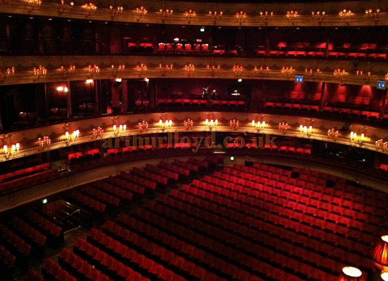 The wonderful restored auditorium of the Royal Opera House, Covent Garden