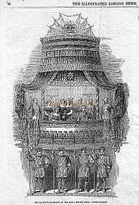 Article on the new Royal Box at the Royal Italian Opera, Covent Garden, from the Illustrated London News of July 29th 1848. Click for full article and enlarged image.