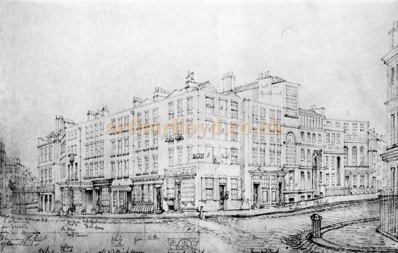 The first Theatre Royal, Covent Garden after reconstruction by Henry Holland in 1792, showing the Bow Street frontage to the left and the Hart Street frontage to the right - From 'The Survey of London Volume XXXV' kindly donated by John Otto.
