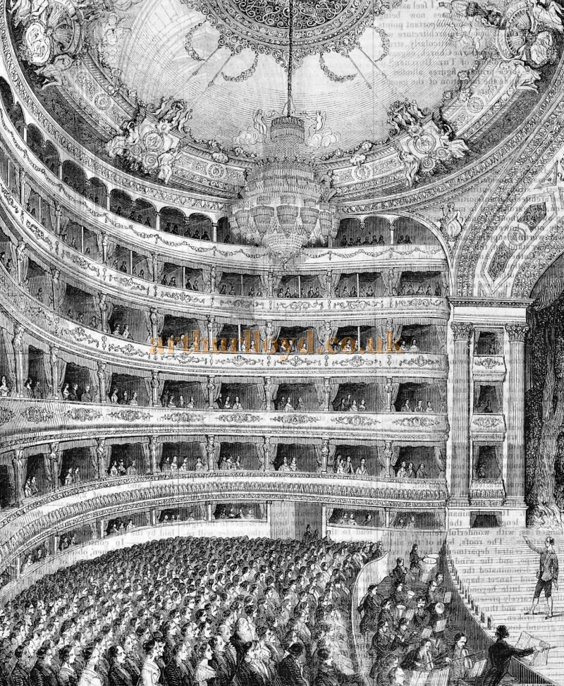 The Auditorium and Stage of the Italian Opera House, Covent Garden in 1847 - From 'The Builder' of 1847. This Theatre would be destroyed by fire on the 5th of March 1856.