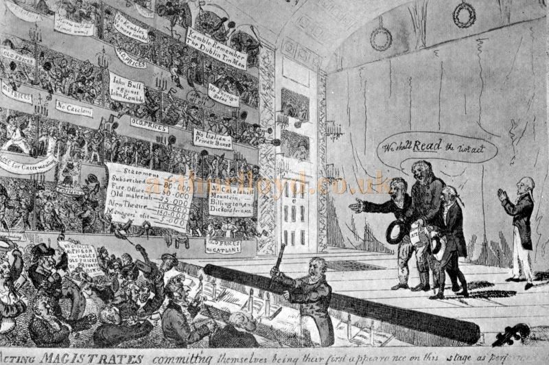 A Caricature of the 'Old Price Riots' at the Covent Garden Theatre in 1809 from a coloured print of the time - Reproduced in 'Shakspere to Sheridan' by Alwin Thaler, published in 1922.