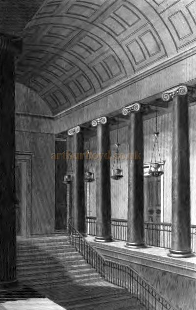 The Grand Staircase of the Second Covent Garden Theatre shortly after it opened - From 'The Covent Garden Journal' by Joseph Stockdale, published in 1810.
