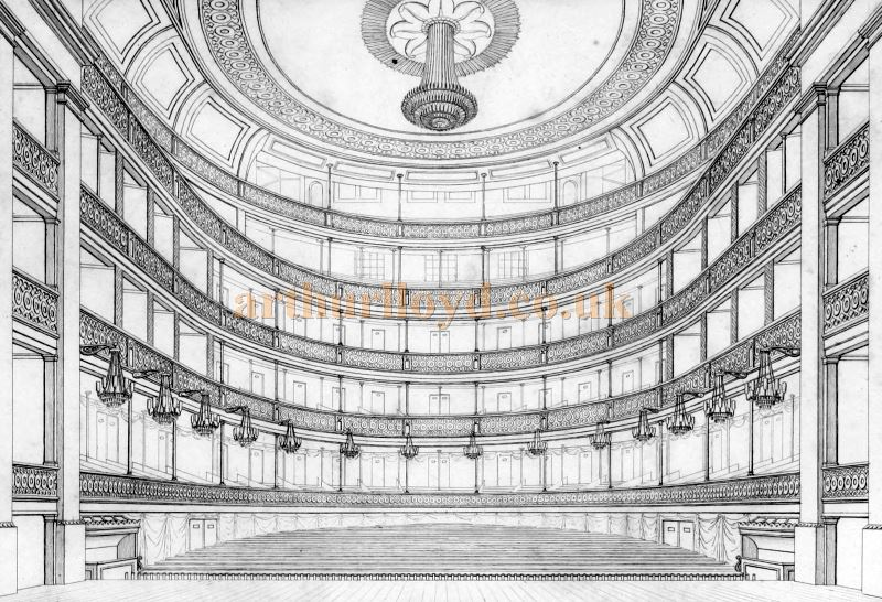 The Auditorium from the Stage of the Second Covent Garden Theatre - From 'Illustrations of the public buildings of London Vol 1 1825'.