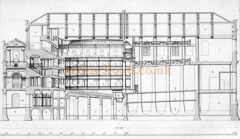 A Plan of the Second Covent Garden Theatre - From 'Illustrations of the public buildings of London Vol 1 1825'.