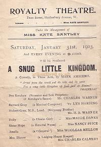 Programme extract for 'A Snug Little Kingdom' at the Royalty Theatre, January 31st 1903.