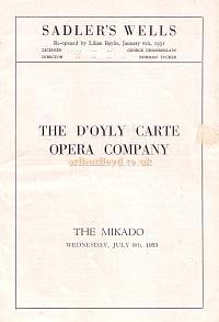 A Programme for the D'oyly Carte Company performing 'The Mikado' at the Sadler's Wells Theatre on July the 8th 1953.