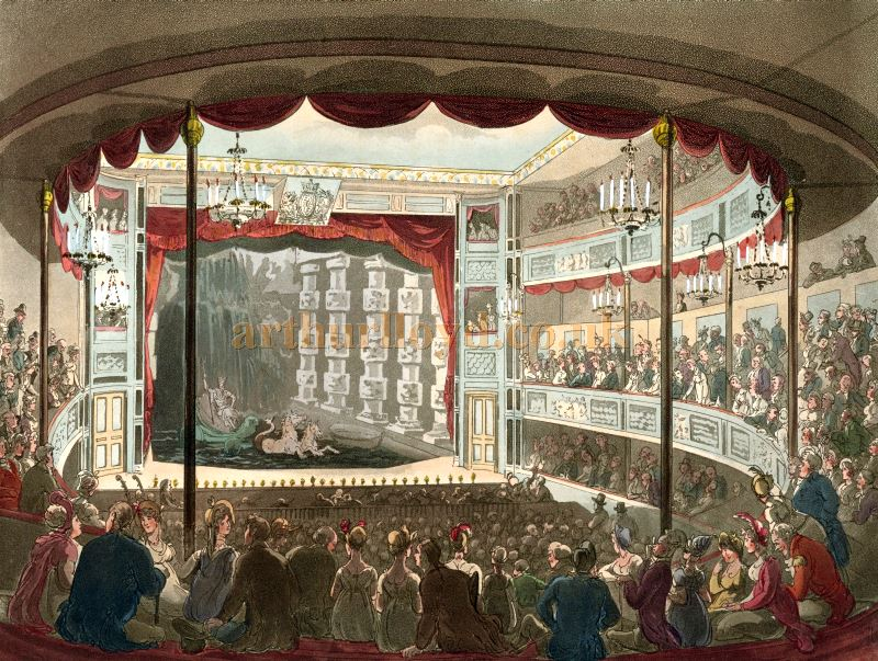 The Auditorium and Stage of the Sadler's Wells Theatre in 1809 - From Microcosm of London.