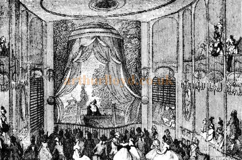 The Auditorium and Stage of the Sans Souci Theatre, Leicester Place - From 'Two centuries of Soho' by John Henry Cardwell 1898