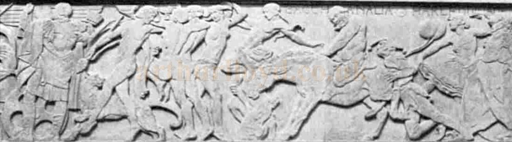 A section of Gilbert Bayes' Frieze on the facade of the Saville Theatre - From The Sphere, May 9th 1931.